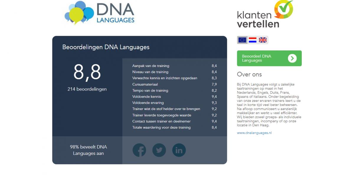 Klanten vertellen DNA Languages Incompany Taaltrainingen